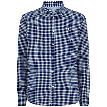 Buy Jaeger Indigo Dobby Check Slim Shirt, Navy Online at johnlewis.com