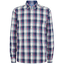 Buy Jaeger Large Madras Check Slim Shirt, Navy Online at johnlewis.com