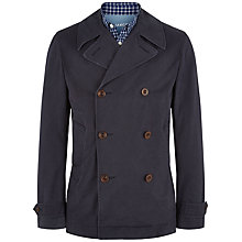 Buy Jaeger Washed Cotton Reefer Jacket, Navy Online at johnlewis.com