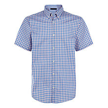 Buy Jaeger Mini Overcheck Regular Shirt, Lake Blue Online at johnlewis.com