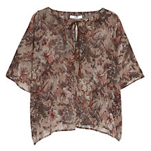 Buy Mango Tassle Floral Blouse, Beige / Khaki Online at johnlewis.com