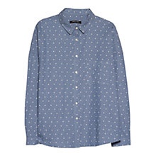 Buy Mango Oversize Stars Cotton Shirt, Venetian Blue Online at johnlewis.com