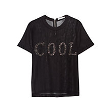 Buy Mango Sequined Message Top, Black Online at johnlewis.com