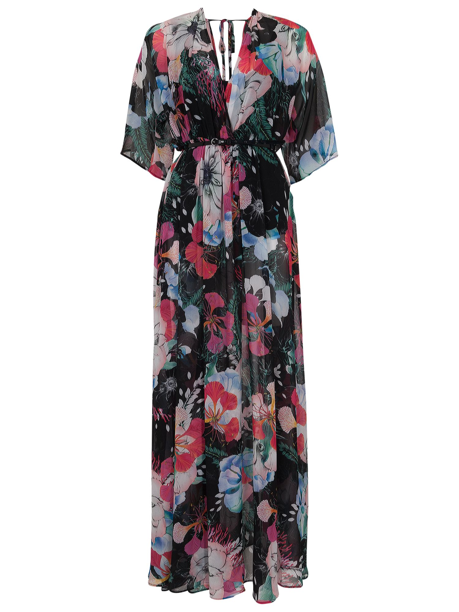 french connection floral reef chiffon v-neck maxi dress black multi, french, connection, floral, reef, chiffon, v-neck, maxi, dress, black, multi, french connection, 16|8|10|12|14|6, women, womens dresses, 1933166