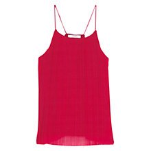 Buy Mango Pleated Strap Top, Dark Red Online at johnlewis.com