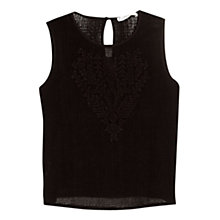 Buy Mango Embroidered Mesh Top, Black Online at johnlewis.com
