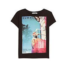 Buy Mango Cotton Image T-Shirt, Black Online at johnlewis.com