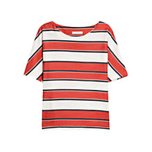 Buy Mango Oversized Striped Top, Bright Red Online at johnlewis.com