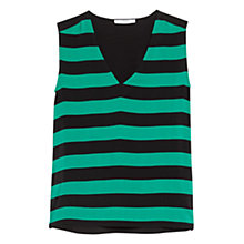 Buy Mango Striped Panel Top, Green Online at johnlewis.com