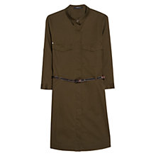 Buy Mango Belted-Waist Shirt Dress, Dark Green Online at johnlewis.com