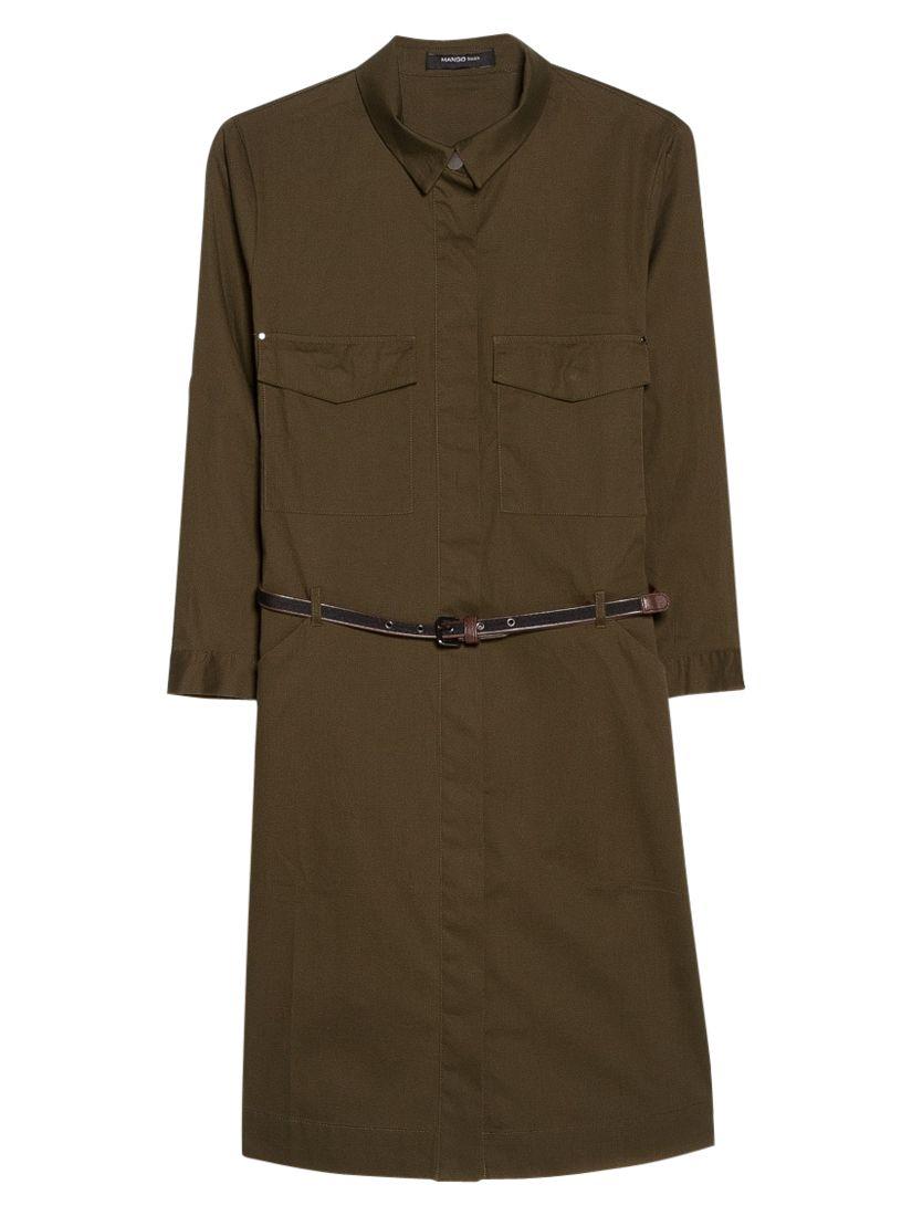 mango belted-waist shirt dress dark green, mango, belted-waist, shirt, dress, dark, green, 12 14 8 10 6, women, womens dresses, 1935274