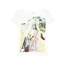 Buy Mango Cotton Image T-Shirt, Natural White Online at johnlewis.com