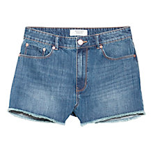 Buy Mango High Waist Shorts, Open Blue Online at johnlewis.com