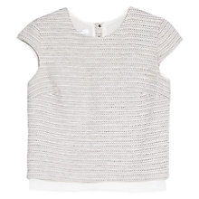 Buy Mango Jacquard Top, Light Pastel Brown Online at johnlewis.com