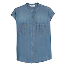 Buy Mango Tencel Pocket Shirt, Open Blue Online at johnlewis.com