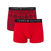 Buy Tommy Hilfiger Fair Isle Trunks, Pack of 2, Red Online at johnlewis.com
