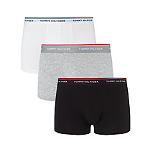 Buy Tommy Hilfiger Premium Essential Trunks, Pack of 3, Black/Grey/White Online at johnlewis.com