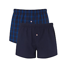 Buy Tommy Hilfiger Woven Boxer Shorts, Pack of 2, Blue Online at johnlewis.com
