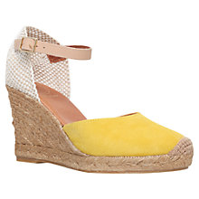 Buy KG by Kurt Geiger Monty Wedge Heeled Espadrilles, Yellow Suede Online at johnlewis.com