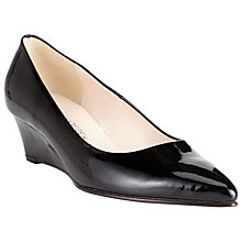 Buy Peter Kaiser Roxana Patent Leather Pointed Wedge Pumps, Black Online at johnlewis.com