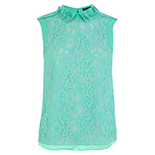Buy Karen Millen Beaded Collar Lace Top, Aqua Online at johnlewis.com