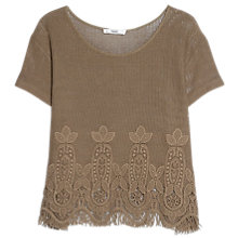 Buy Mango Crochet Detail Knitted T-Shirt Online at johnlewis.com