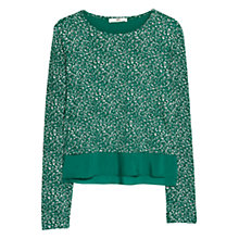 Buy Mango Floral Printed T-shirt, Bright Green Online at johnlewis.com