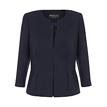 Buy Precis Petite Collarless Jacket, Navy Online at johnlewis.com