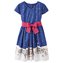 Buy Little Joule Girls' Cotswold Christmas Prom Dress, Navy Online at johnlewis.com