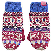 Buy Little Joule Girl's Fairisle Mittens, Pink/Multi Online at johnlewis.com