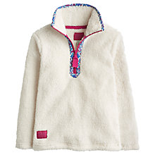 Buy Little Joule Girls' Fluffy Half Zip Through Fleece, Cream Online at johnlewis.com