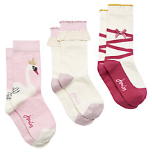 Buy Little Joule Girl's Ballet Socks in a Box, Pack of 3 Online at johnlewis.com