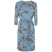 Buy Jaeger Tropical Flower Silk Dress, Royal Blue Online at johnlewis.com