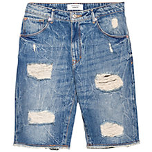 Buy Mango Boyfriend Denim Bermuda Shorts, Open Blue Online at johnlewis.com