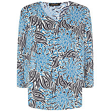 Buy Jaeger Tropical Flower Silk Top, Royal Blue Online at johnlewis.com