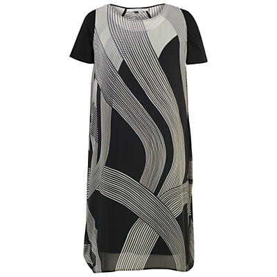 Chesca Abstract Ombre Dress, Ivory/Black
