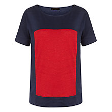 Buy Jaeger Linen Colour Block T-shirt, Navy/Red Online at johnlewis.com