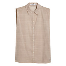 Buy Mango Pleated Printed Shirt, Light Beige Online at johnlewis.com
