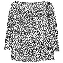Buy Mango Printed Flowy Blouse, Natural White / Black Online at johnlewis.com