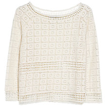 Buy Mango Crochet Blouse, Light Beige Online at johnlewis.com