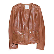 Buy Mango Pocket Leather Jacket, Dark Brown Online at johnlewis.com