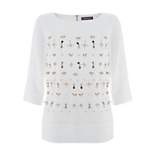 Buy Mint Velvet Beaded Shell Top, Ivory Online at johnlewis.com