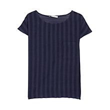 Buy Mango Check Blouse, Navy Online at johnlewis.com
