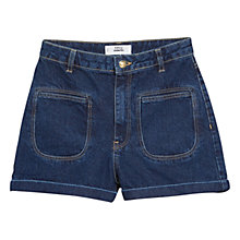 Buy Mango High Waist Denim Shorts, Open Blue Online at johnlewis.com