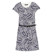 Buy Mango Belted Printed Dress, Natural White/Multi Online at johnlewis.com
