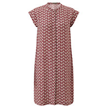 Buy Jigsaw Stamp Print Silk Dress, Dark Red Online at johnlewis.com