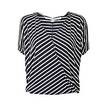 Buy Max Studio Linen-blend Top, Navy/Off White Online at johnlewis.com