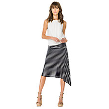 Buy Max Studio Stripe Linen-blend Skirt, Navy/Off White Online at johnlewis.com