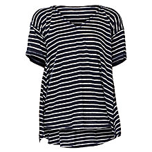 Buy Max Studio Stripe Linen Top, Navy/Off White Online at johnlewis.com
