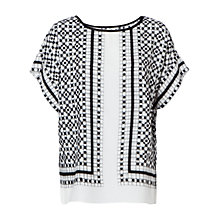 Buy Max Studio Short Sleeve Printed Jersey Top, Black/Off White Online at johnlewis.com